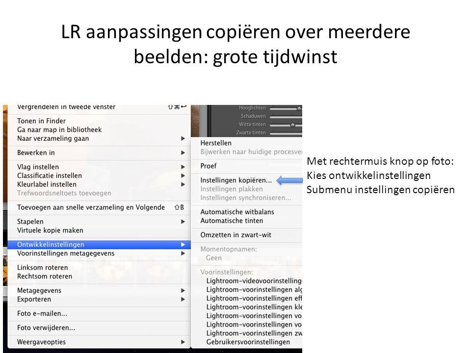 LR aanpassingen copiëren over meerdere beelden: grote tijdwinst Met rechtermuis knop op foto: Kies ontwikkelinstellingen Submenu instellingen copiëren