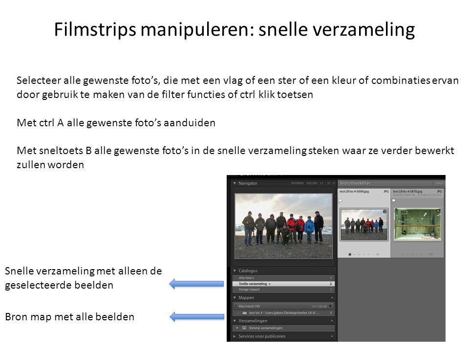 Filmstrips manipuleren: snelle verzameling Selecteer alle gewenste foto's, die met een vlag of een ster of een kleur of combinaties ervan door gebruik