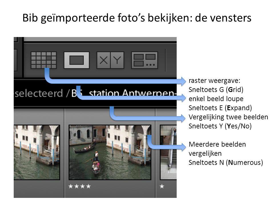 Bib geïmporteerde foto's bekijken: de vensters raster weergave: Sneltoets G (Grid) enkel beeld loupe Sneltoets E (Expand) Vergelijking twee beelden Sneltoets Y (Yes/No) Meerdere beelden vergelijken Sneltoets N (Numerous)