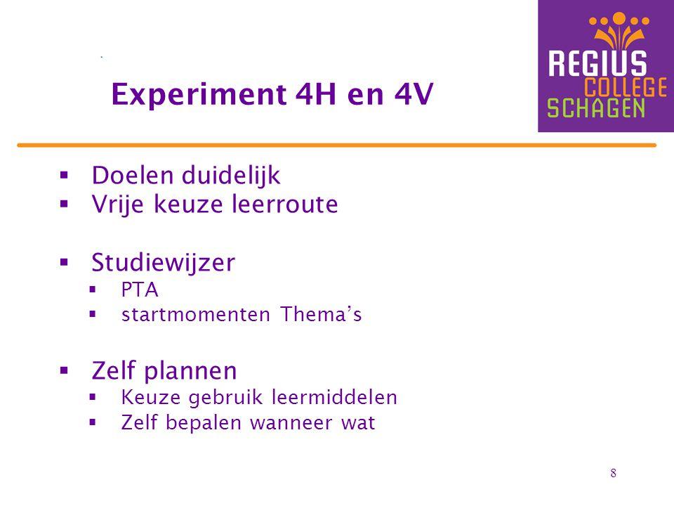 8  Doelen duidelijk  Vrije keuze leerroute  Studiewijzer  PTA  startmomenten Thema's  Zelf plannen  Keuze gebruik leermiddelen  Zelf bepalen wanneer wat Experiment 4H en 4V