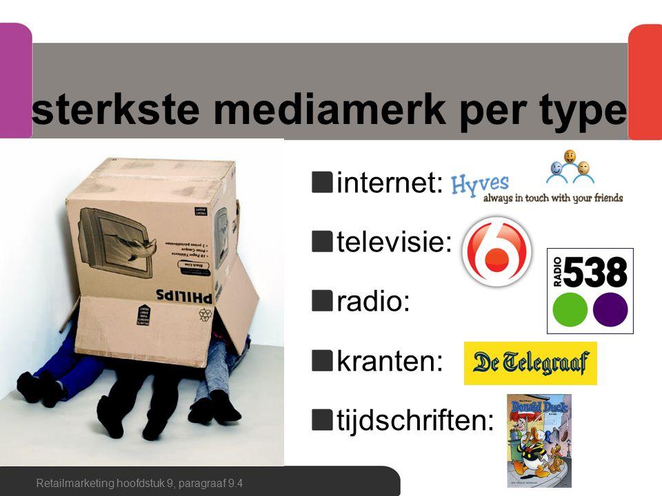 sterkste mediamerk per type internet: televisie: radio: kranten: tijdschriften: Retailmarketing hoofdstuk 9, paragraaf 9.4