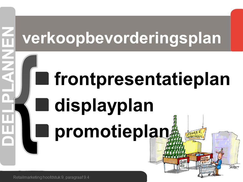 frontpresentatieplan displayplan promotieplan verkoopbevorderingsplan Retailmarketing hoofdstuk 9, paragraaf 9.4 DEELPLANNEN