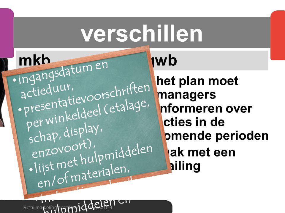 verschillen mkb één kalender met alle activiteiten een planbord met kwartaal- en maandoverzicht gwb het plan moet managers informeren over acties in d
