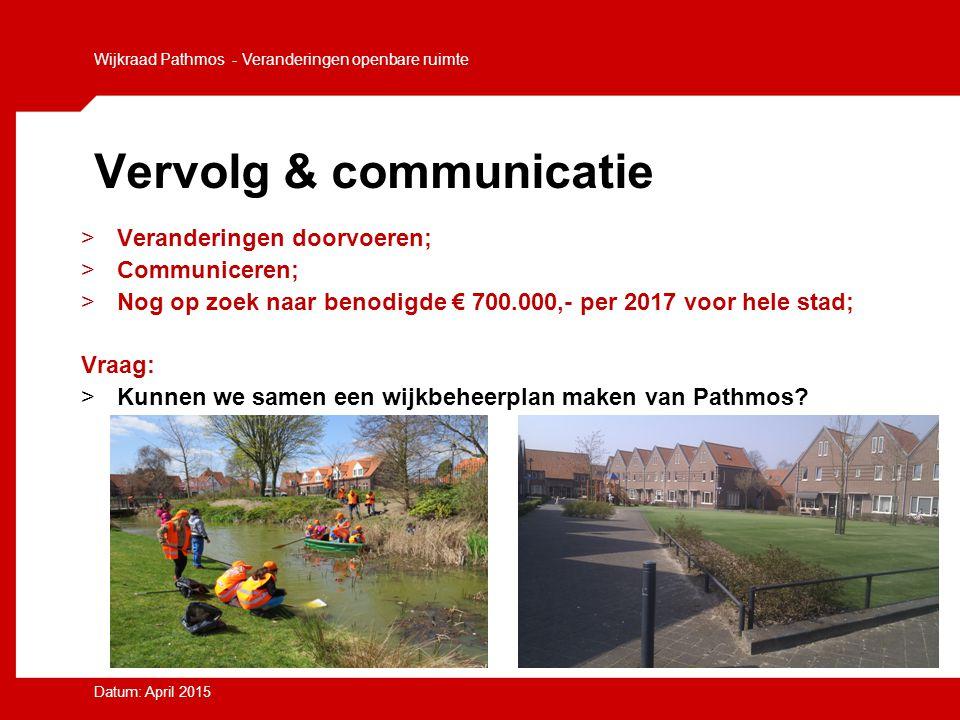 Vervolg & communicatie >Veranderingen doorvoeren; >Communiceren; >Nog op zoek naar benodigde € 700.000,- per 2017 voor hele stad; Vraag: >Kunnen we sa