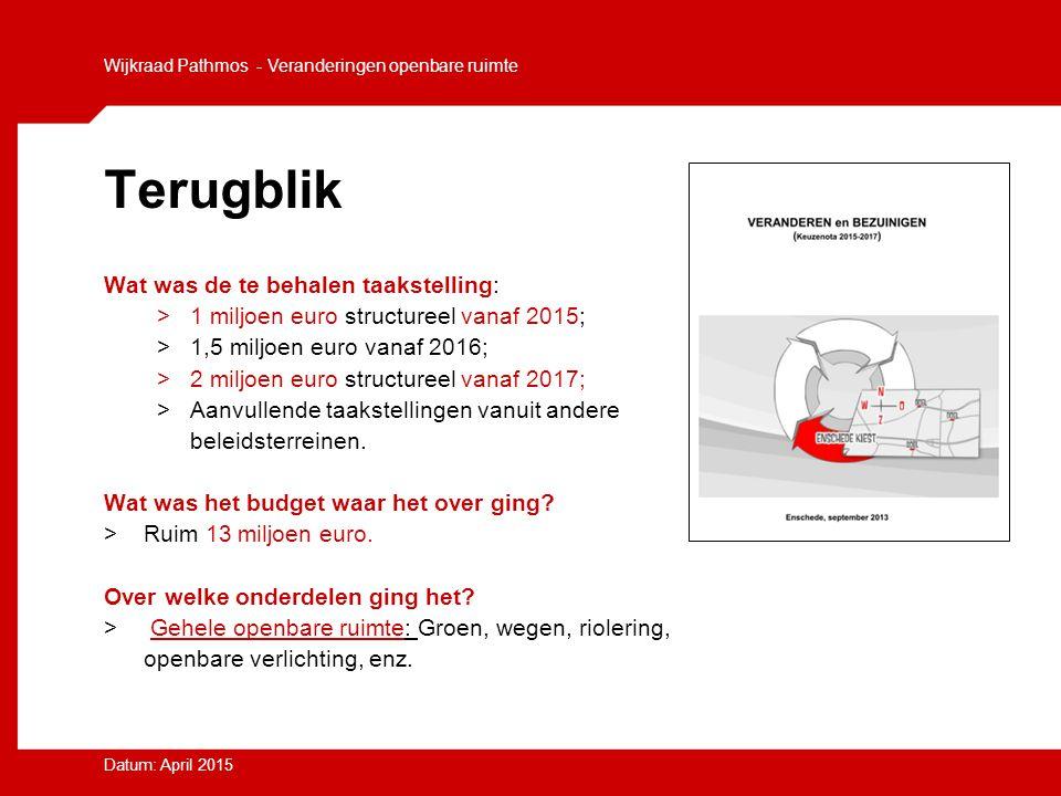 Wijkraad Pathmos - Veranderingen openbare ruimte Datum: April 2015 Terugblik Wat was de te behalen taakstelling: >1 miljoen euro structureel vanaf 201