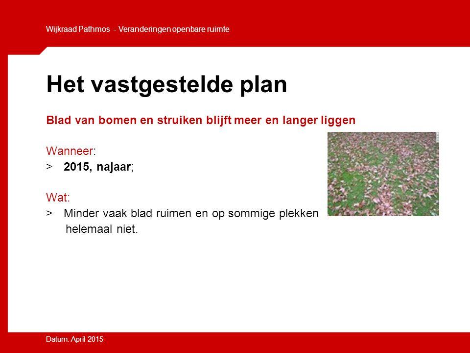 Het vastgestelde plan Blad van bomen en struiken blijft meer en langer liggen Wanneer: >2015, najaar; Wat: >Minder vaak blad ruimen en op sommige plek