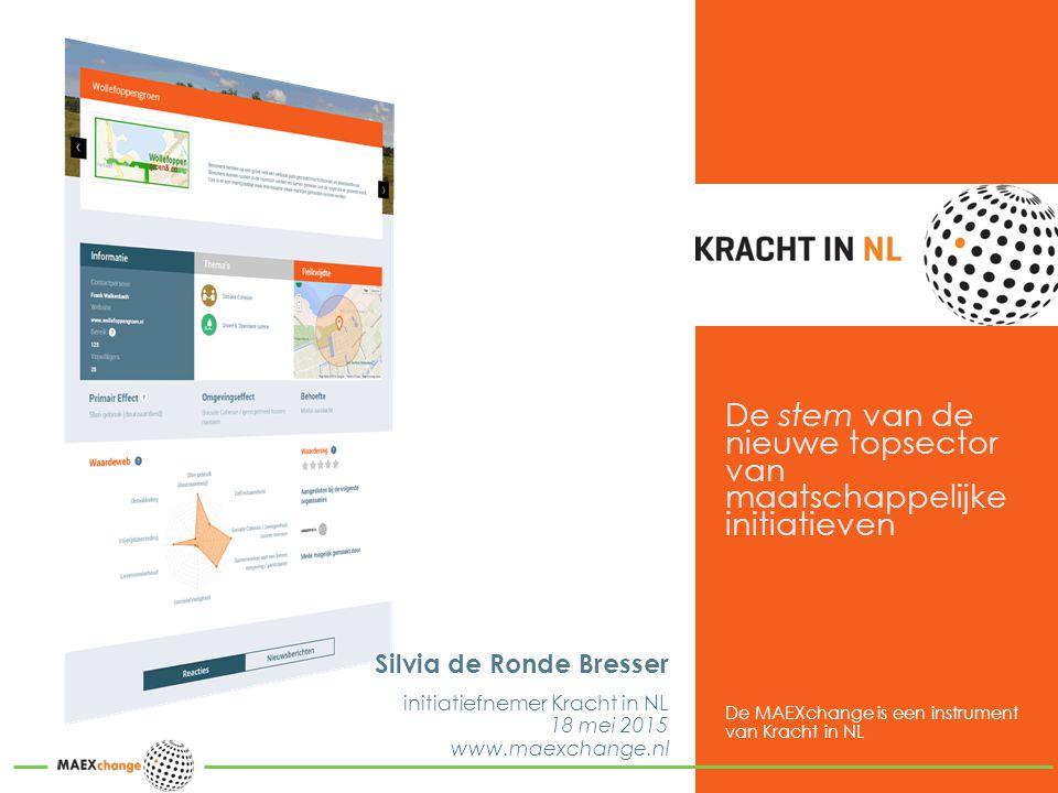 De stem van de nieuwe topsector van maatschappelijke initiatieven Silvia de Ronde Bresser initiatiefnemer Kracht in NL 18 mei 2015 www.maexchange.nl De MAEXchange is een instrument van Kracht in NL
