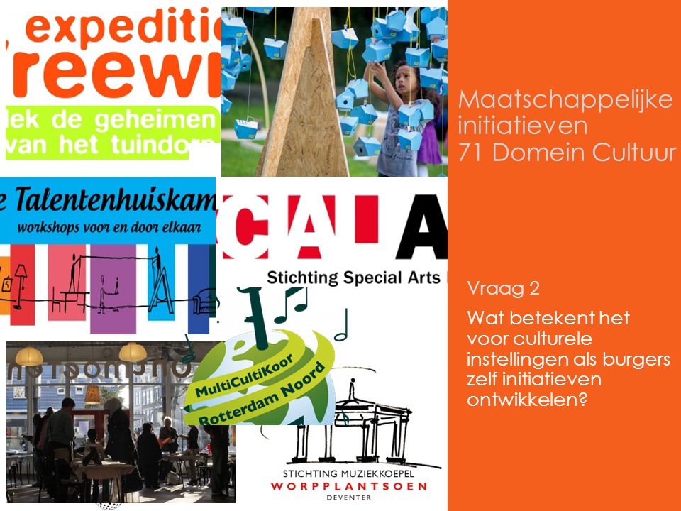 Maatschappelijke initiatieven 71 Domein Cultuur Vraag 2 Wat betekent het voor culturele instellingen als burgers zelf initiatieven ontwikkelen?