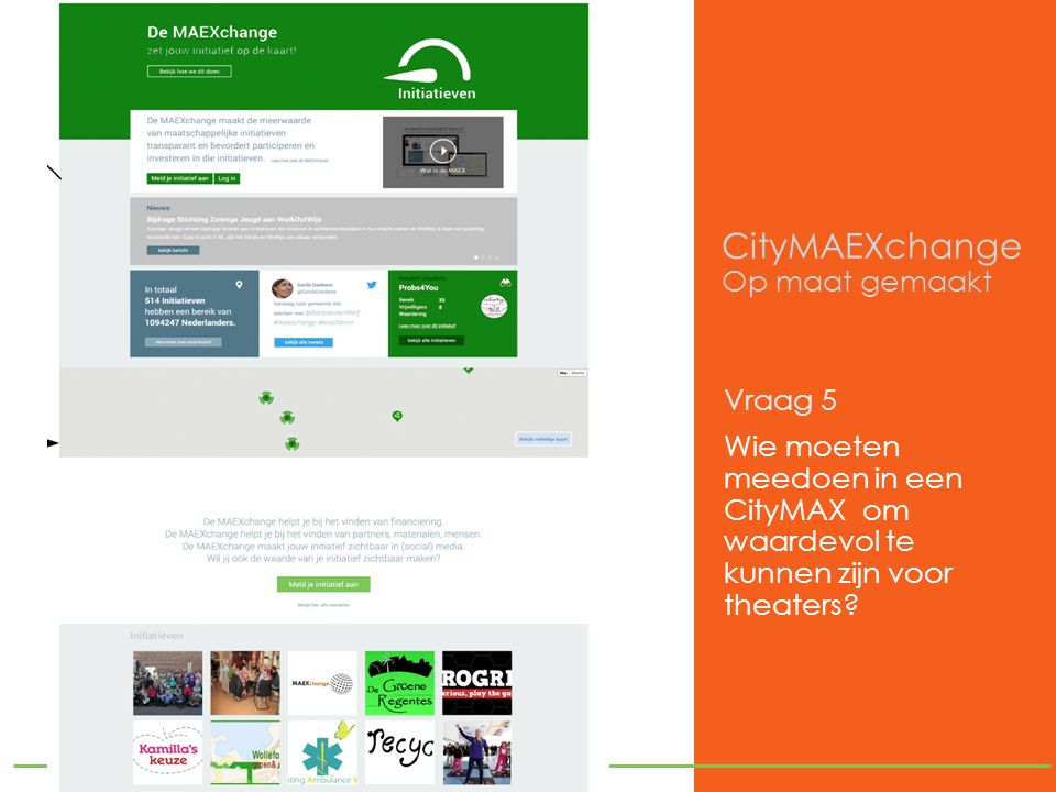 CityMAEXchange Op maat gemaakt Vraag 5 Wie moeten meedoen in een CityMAX om waardevol te kunnen zijn voor theaters
