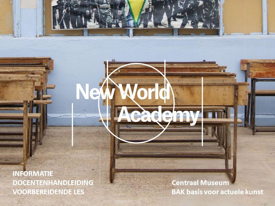 Utrecht, 2015 Beste docent, Wij hopen u en uw groep binnenkort te mogen verwelkomen in het Centraal Museum, waar u met de groep deelneemt aan het programma New World Academy van kunstenaar Jonas Staal, i.s.m.