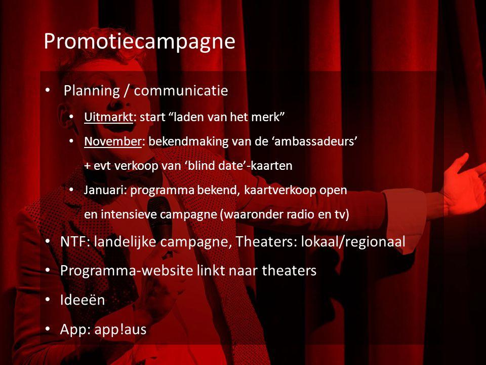 """Promotiecampagne Planning / communicatie Uitmarkt: start """"laden van het merk"""" November: bekendmaking van de 'ambassadeurs' + evt verkoop van 'blind da"""
