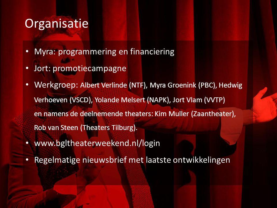 Organisatie Myra: programmering en financiering Jort: promotiecampagne Werkgroep: Albert Verlinde (NTF), Myra Groenink (PBC), Hedwig Verhoeven (VSCD), Yolande Melsert (NAPK), Jort Vlam (VVTP) en namens de deelnemende theaters: Kim Muller (Zaantheater), Rob van Steen (Theaters Tilburg).