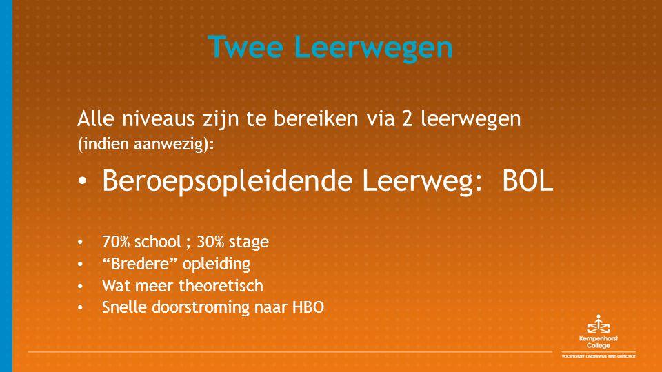 """Twee Leerwegen Alle niveaus zijn te bereiken via 2 leerwegen (indien aanwezig): Beroepsopleidende Leerweg: BOL 70% school ; 30% stage """"Bredere"""" opleid"""