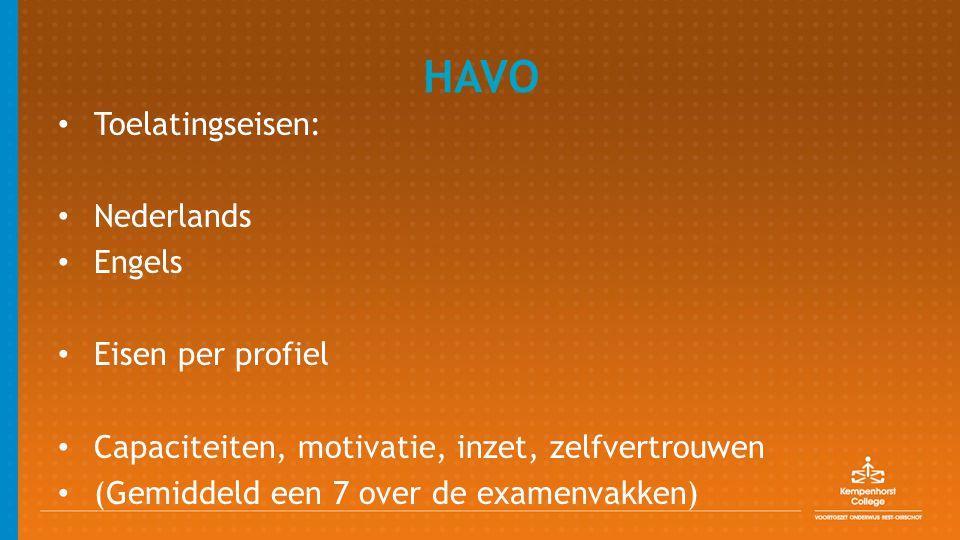 HAVO Toelatingseisen: Nederlands Engels Eisen per profiel Capaciteiten, motivatie, inzet, zelfvertrouwen (Gemiddeld een 7 over de examenvakken)