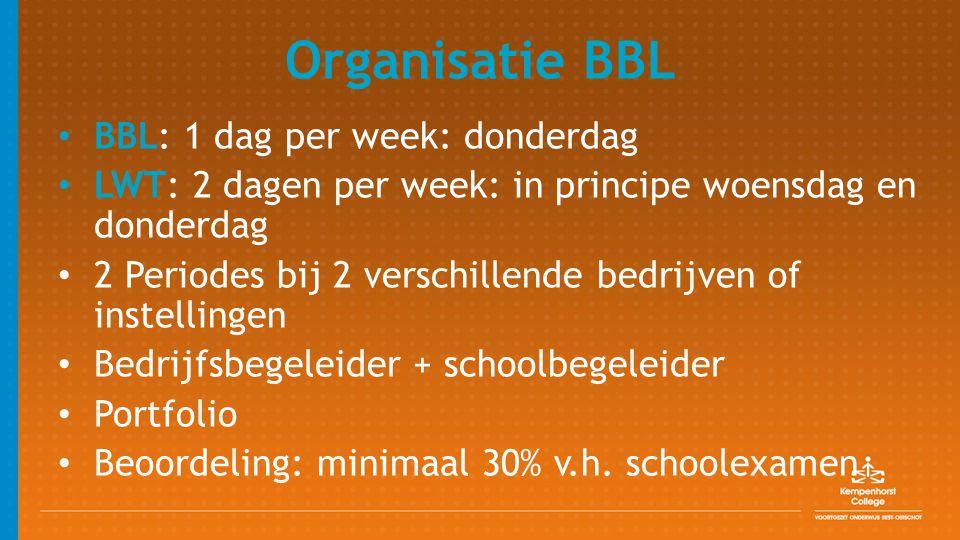 Organisatie BBL BBL: 1 dag per week: donderdag LWT: 2 dagen per week: in principe woensdag en donderdag 2 Periodes bij 2 verschillende bedrijven of in