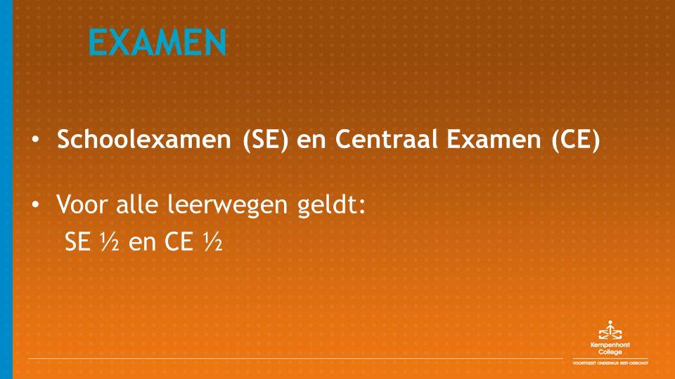 EXAMEN Schoolexamen (SE) en Centraal Examen (CE) Voor alle leerwegen geldt: SE ½ en CE ½
