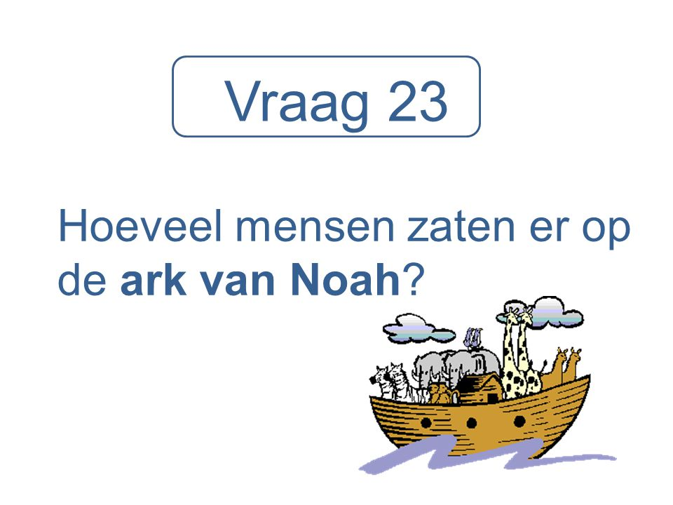 Vraag 23 Hoeveel mensen zaten er op de ark van Noah?