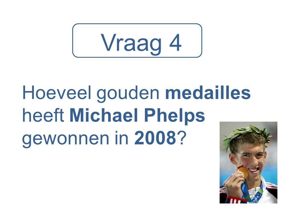 Vraag 4 Hoeveel gouden medailles heeft Michael Phelps gewonnen in 2008?