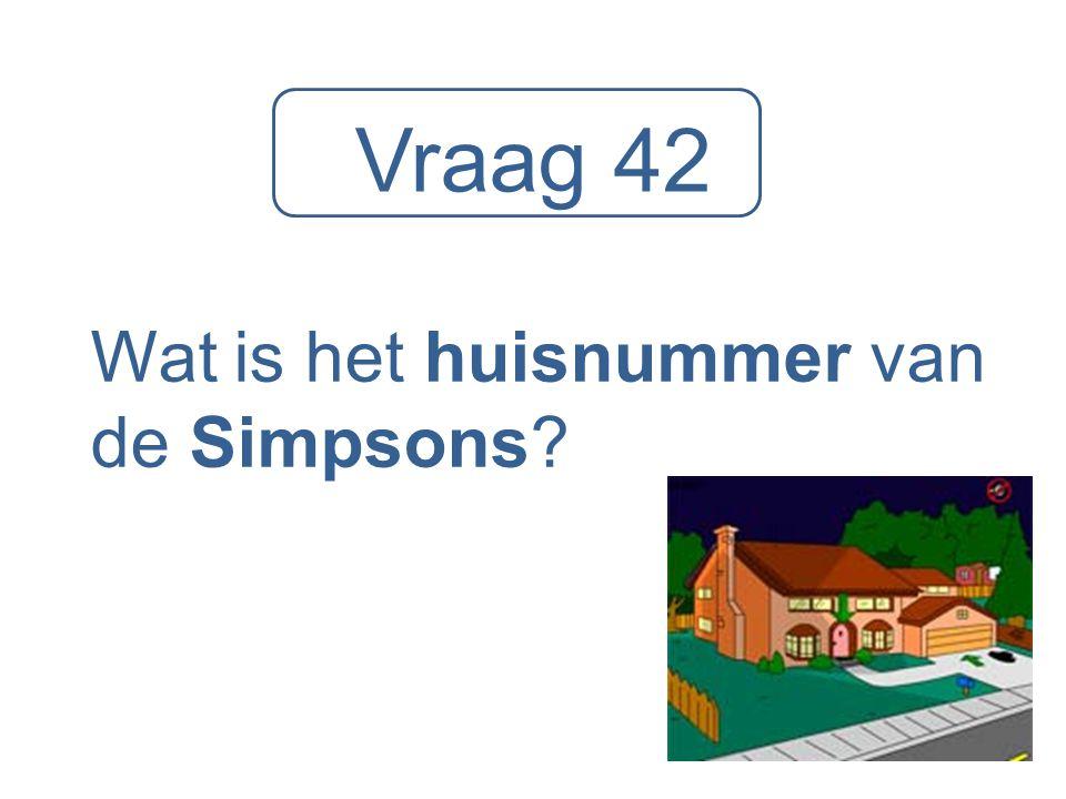 Vraag 42 Wat is het huisnummer van de Simpsons?