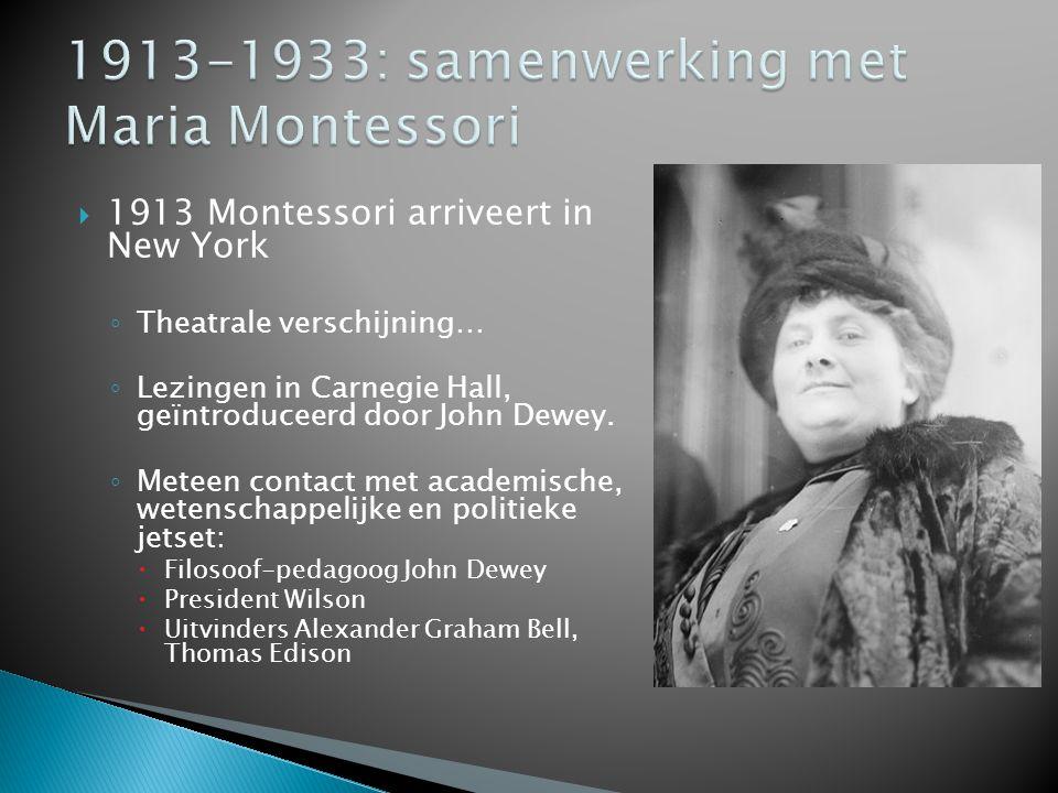  1913 Montessori arriveert in New York ◦ Theatrale verschijning… ◦ Lezingen in Carnegie Hall, geïntroduceerd door John Dewey. ◦ Meteen contact met ac