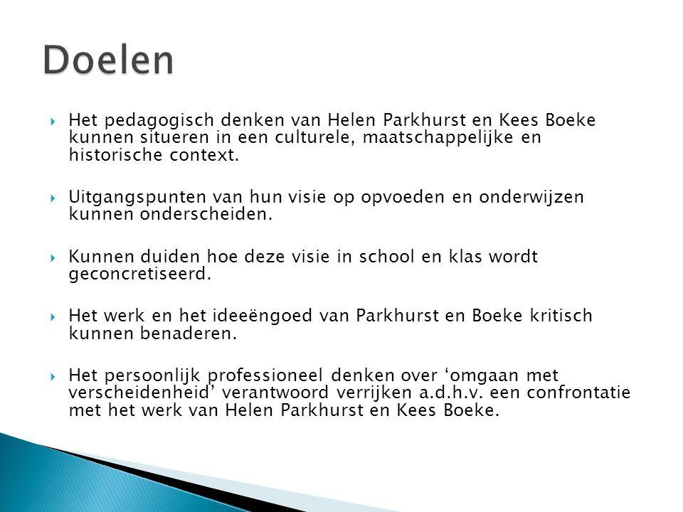  Het pedagogisch denken van Helen Parkhurst en Kees Boeke kunnen situeren in een culturele, maatschappelijke en historische context.  Uitgangspunten
