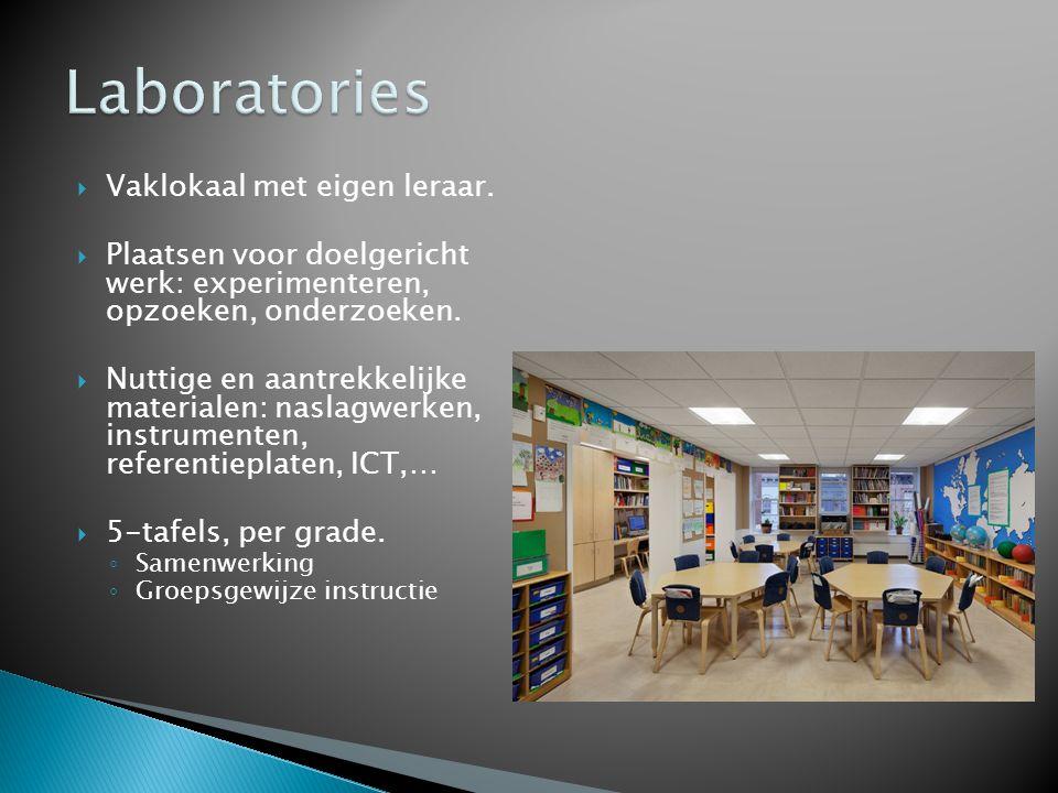  Vaklokaal met eigen leraar.  Plaatsen voor doelgericht werk: experimenteren, opzoeken, onderzoeken.  Nuttige en aantrekkelijke materialen: naslagw