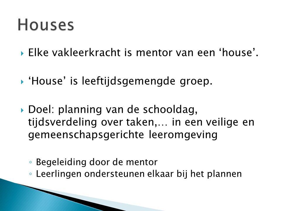  Elke vakleerkracht is mentor van een 'house'.  'House' is leeftijdsgemengde groep.  Doel: planning van de schooldag, tijdsverdeling over taken,… i
