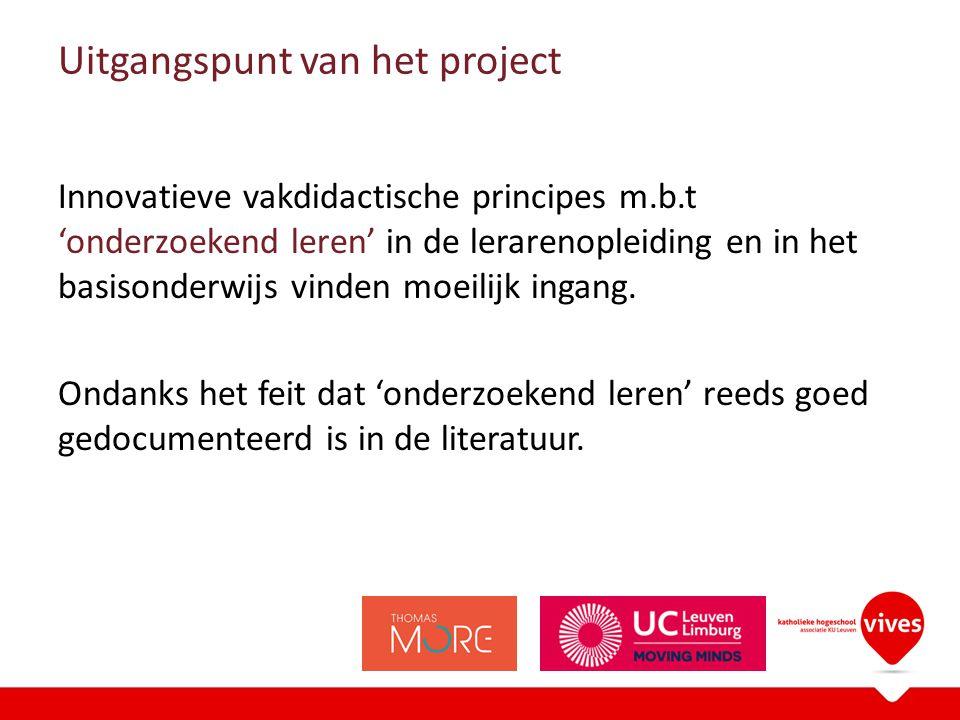 Uitgangspunt van het project Innovatieve vakdidactische principes m.b.t 'onderzoekend leren' in de lerarenopleiding en in het basisonderwijs vinden moeilijk ingang.