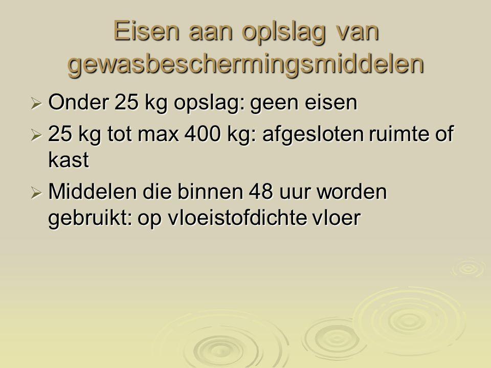 Eisen aan oplslag van gewasbeschermingsmiddelen  Onder 25 kg opslag: geen eisen  25 kg tot max 400 kg: afgesloten ruimte of kast  Middelen die binnen 48 uur worden gebruikt: op vloeistofdichte vloer