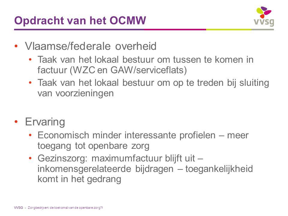 VVSG - Opdracht van het OCMW Vlaamse/federale overheid Taak van het lokaal bestuur om tussen te komen in factuur (WZC en GAW/serviceflats) Taak van he