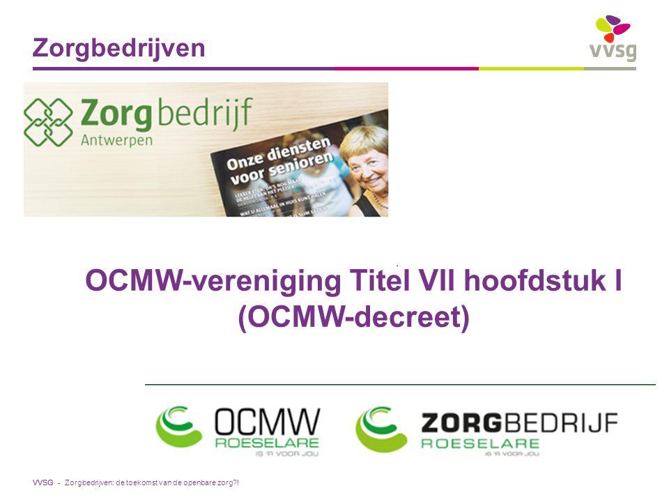 VVSG - Zorgbedrijven Zorgbedrijven: de toekomst van de openbare zorg?! OCMW-vereniging Titel VII hoofdstuk I (OCMW-decreet)