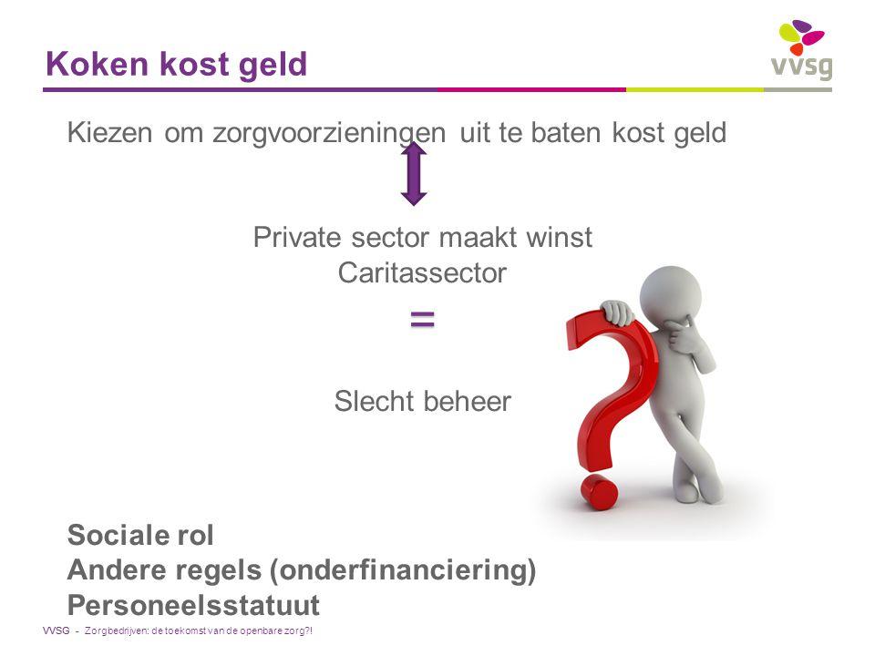 VVSG - Koken kost geld Kiezen om zorgvoorzieningen uit te baten kost geld Private sector maakt winst Caritassector= Slecht beheer Sociale rol Andere r