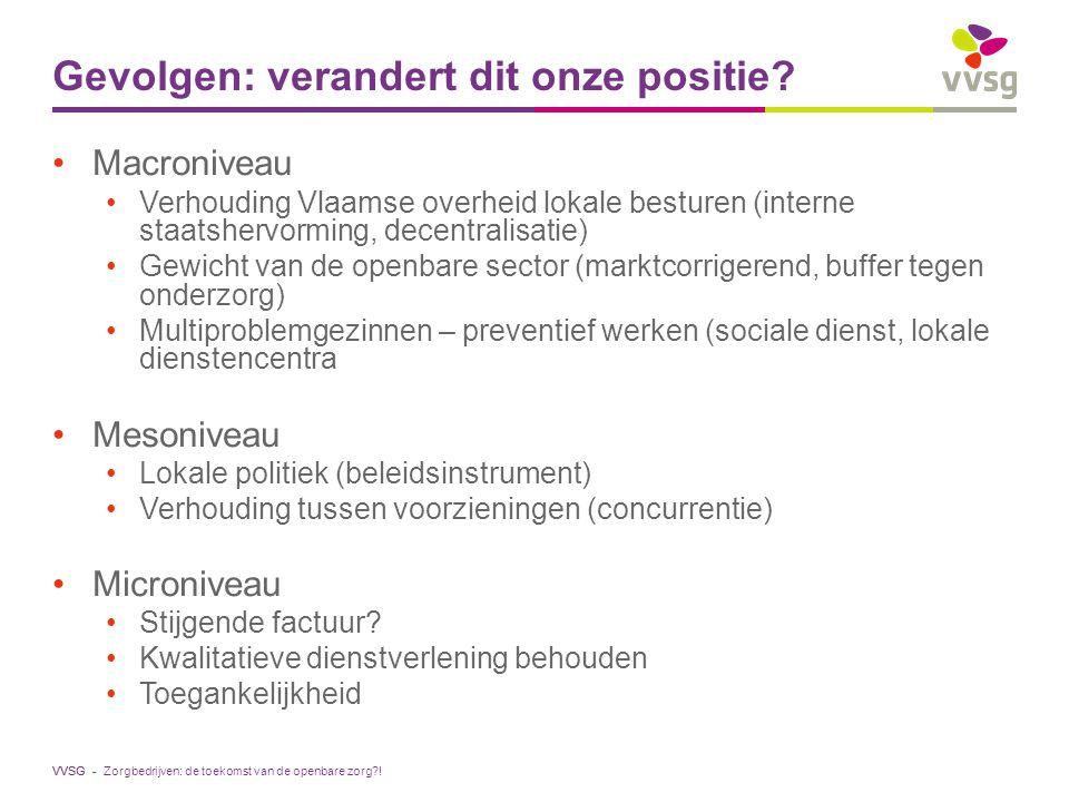 VVSG - Gevolgen: verandert dit onze positie? Macroniveau Verhouding Vlaamse overheid lokale besturen (interne staatshervorming, decentralisatie) Gewic