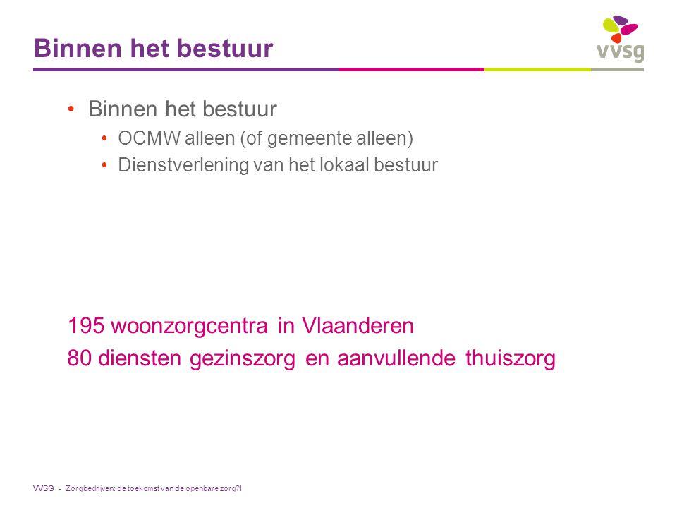 VVSG - Binnen het bestuur OCMW alleen (of gemeente alleen) Dienstverlening van het lokaal bestuur 195 woonzorgcentra in Vlaanderen 80 diensten gezinsz