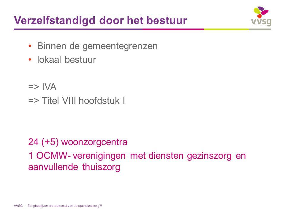 VVSG - Verzelfstandigd door het bestuur Binnen de gemeentegrenzen lokaal bestuur => IVA => Titel VIII hoofdstuk I 24 (+5) woonzorgcentra 1 OCMW- veren