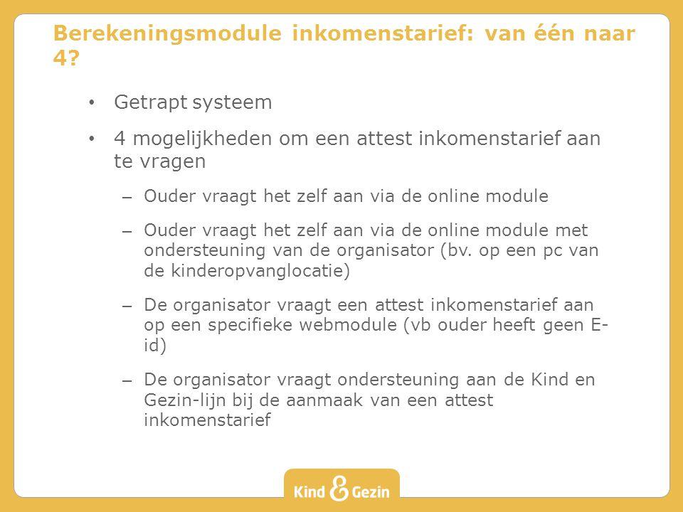 Getrapt systeem 4 mogelijkheden om een attest inkomenstarief aan te vragen – Ouder vraagt het zelf aan via de online module – Ouder vraagt het zelf aan via de online module met ondersteuning van de organisator (bv.