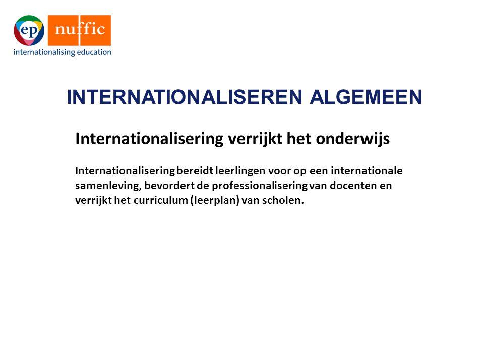 INTERNATIONALISEREN ALGEMEEN Internationalisering verrijkt het onderwijs Internationalisering bereidt leerlingen voor op een internationale samenleving, bevordert de professionalisering van docenten en verrijkt het curriculum (leerplan) van scholen.