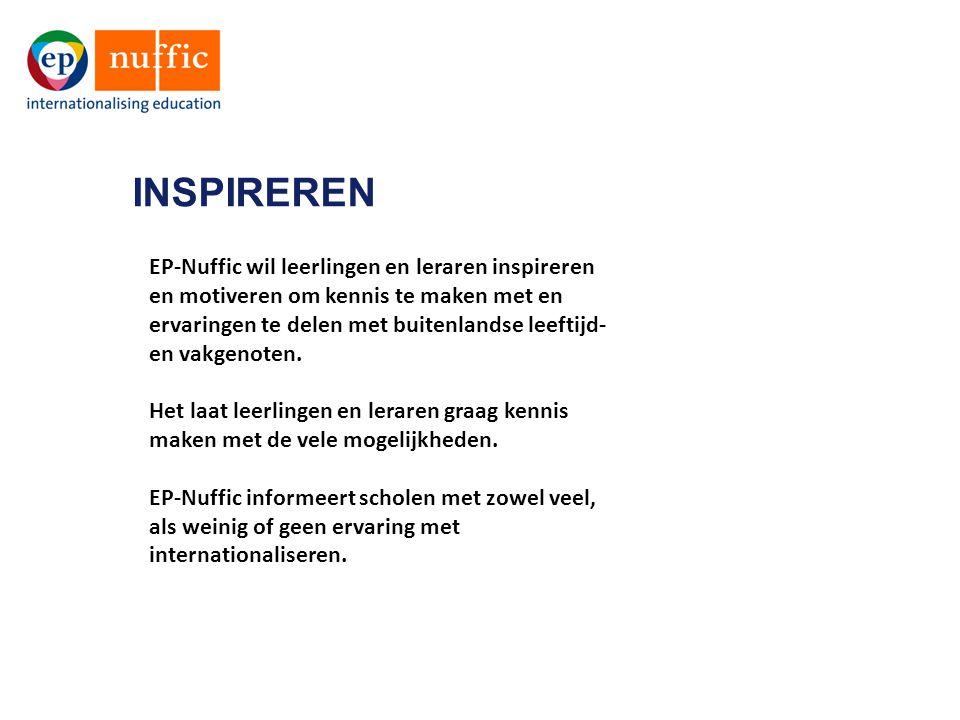 INSPIREREN EP-Nuffic wil leerlingen en leraren inspireren en motiveren om kennis te maken met en ervaringen te delen met buitenlandse leeftijd- en vakgenoten.