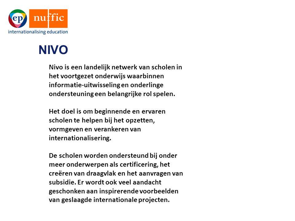 Nivo is een landelijk netwerk van scholen in het voortgezet onderwijs waarbinnen informatie-uitwisseling en onderlinge ondersteuning een belangrijke r