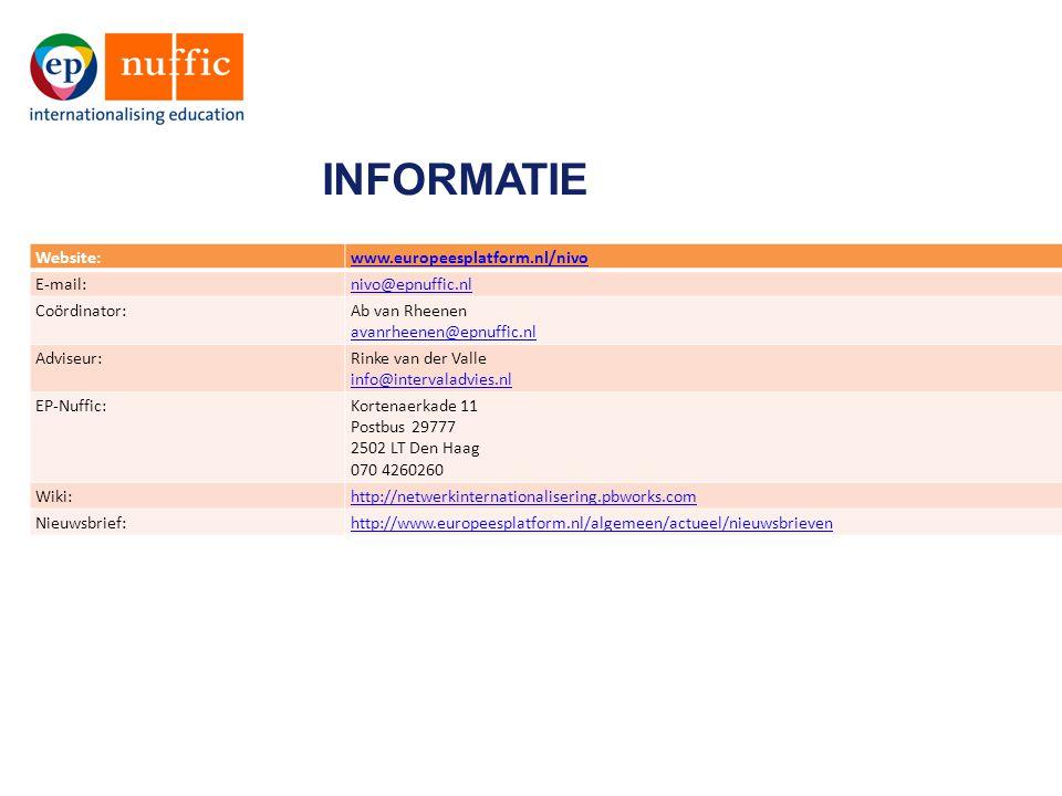 INFORMATIE Website:www.europeesplatform.nl/nivo E-mail:nivo@epnuffic.nl Coördinator:Ab van Rheenen avanrheenen@epnuffic.nl Adviseur:Rinke van der Vall