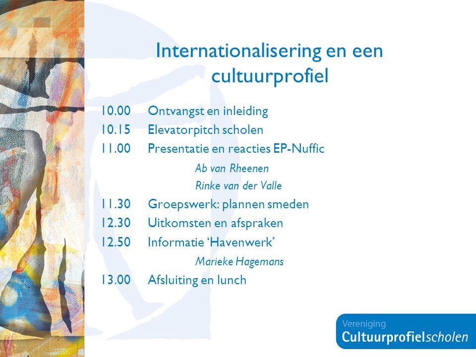 Internationalisering en een cultuurprofiel 10.00 Ontvangst en inleiding 10.15 Elevatorpitch scholen 11.00 Presentatie en reacties EP-Nuffic Ab van Rhe