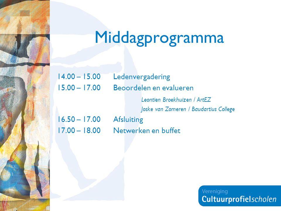 Middagprogramma 14.00 – 15.00Ledenvergadering 15.00 – 17.00 Beoordelen en evalueren Leontien Broekhuizen / ArtEZ Joske van Zomeren / Baudartius Colleg