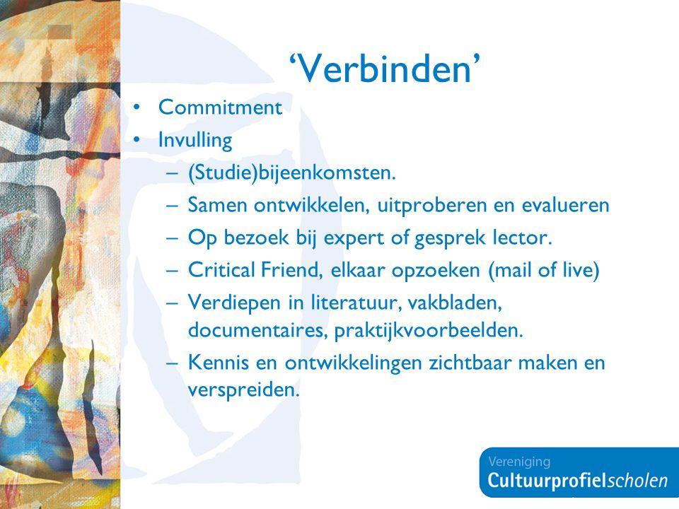 'Verbinden' Commitment Invulling –(Studie)bijeenkomsten. –Samen ontwikkelen, uitproberen en evalueren –Op bezoek bij expert of gesprek lector. –Critic