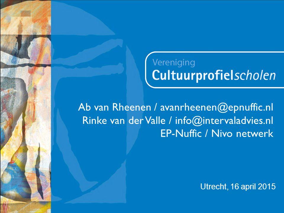Utrecht, 16 april 2015 Ab van Rheenen / avanrheenen@epnuffic.nl Rinke van der Valle / info@intervaladvies.nl EP-Nuffic / Nivo netwerk