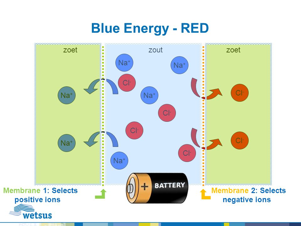 Blue Energy - RED Cl - Na + Cl - Na + Cl - zoetzoutzoet Membrane 1: Selects positive ions Membrane 2: Selects negative ions