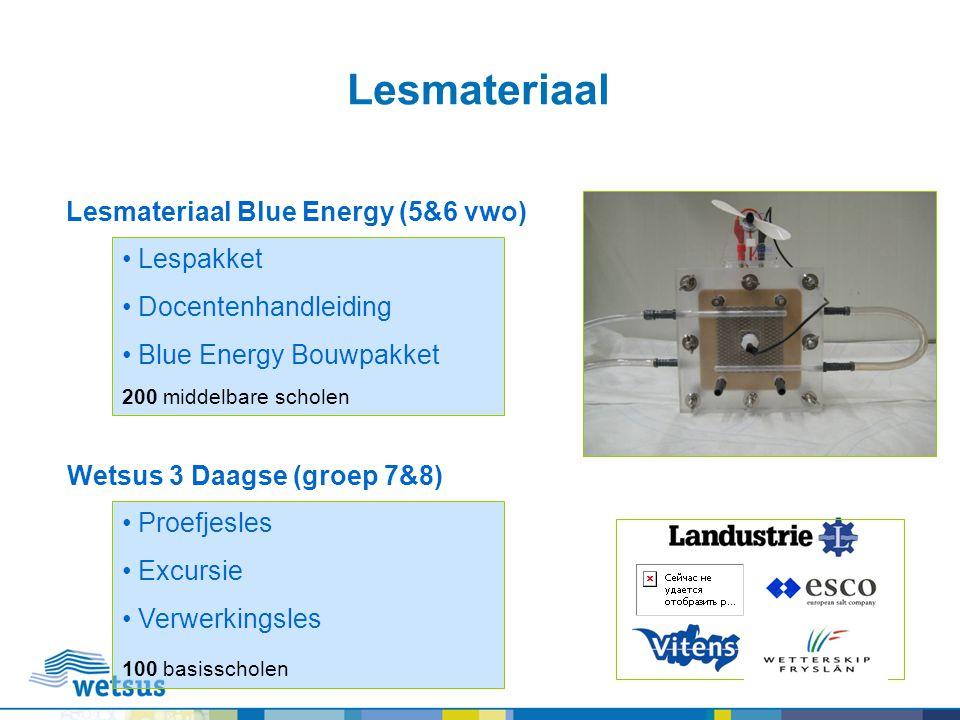 Lesmateriaal Lespakket Docentenhandleiding Blue Energy Bouwpakket 200 middelbare scholen Proefjesles Excursie Verwerkingsles 100 basisscholen Lesmater