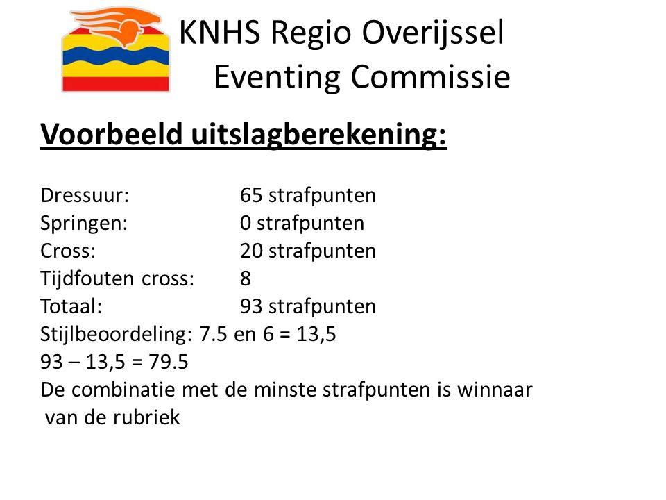 KNHS Regio Overijssel Eventing Commissie Voorbeeld uitslagberekening: Dressuur: 65 strafpunten Springen: 0 strafpunten Cross: 20 strafpunten Tijdfoute