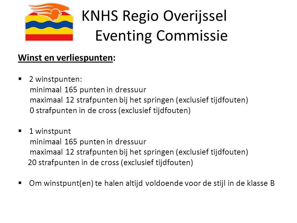 KNHS Regio Overijssel Eventing Commissie Winst en verliespunten:  2 winstpunten: minimaal 165 punten in dressuur maximaal 12 strafpunten bij het spri