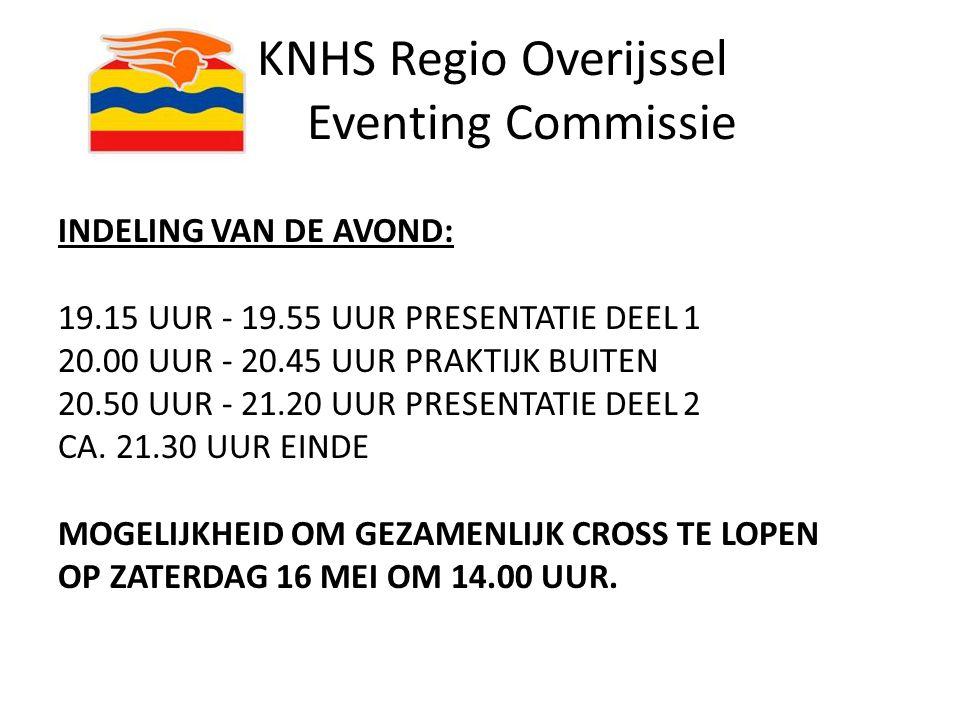 KNHS Regio Overijssel Eventing Commissie INDELING VAN DE AVOND: 19.15 UUR - 19.55 UUR PRESENTATIE DEEL 1 20.00 UUR - 20.45 UUR PRAKTIJK BUITEN 20.50 U