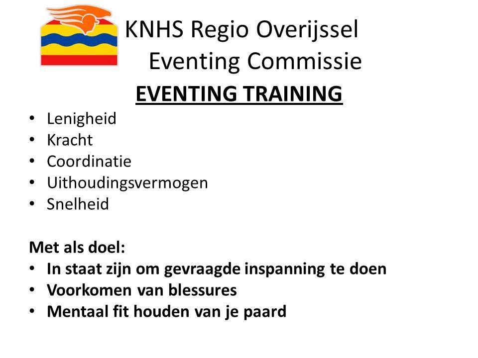KNHS Regio Overijssel Eventing Commissie EVENTING TRAINING Lenigheid Kracht Coordinatie Uithoudingsvermogen Snelheid Met als doel: In staat zijn om ge